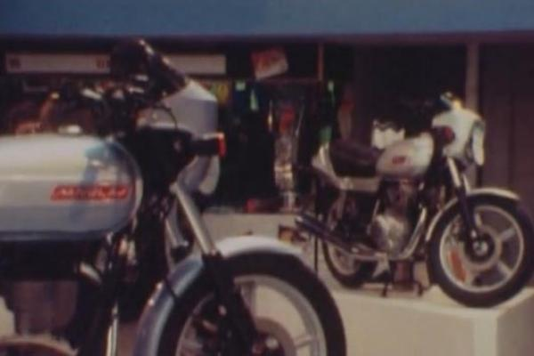 Image of two motorbikes on display.