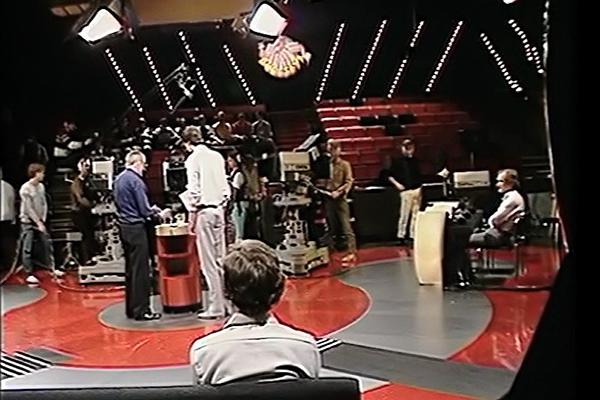 Behind the scenes image of a television recording.
