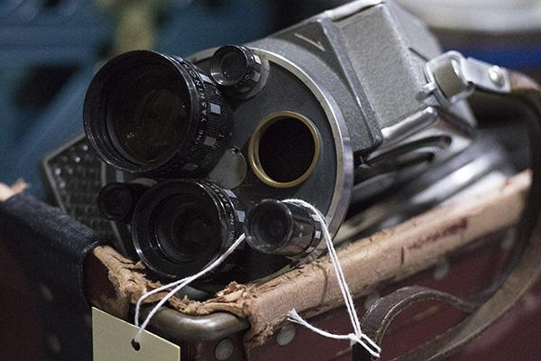 An image of a cine camera received as part of a new collection of moving image materials.