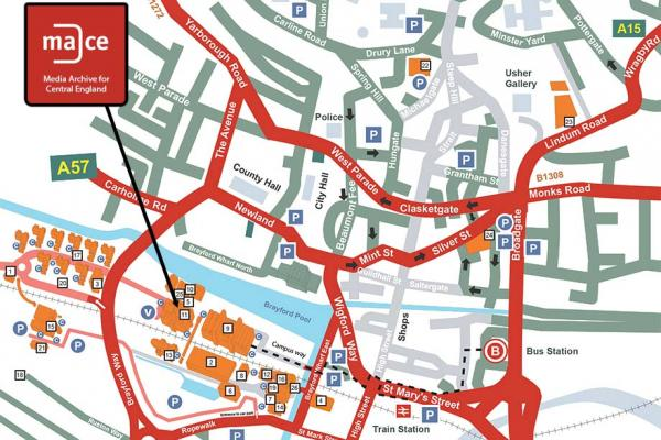 A map of Lincoln including the university campus with MACE's location highlighted.