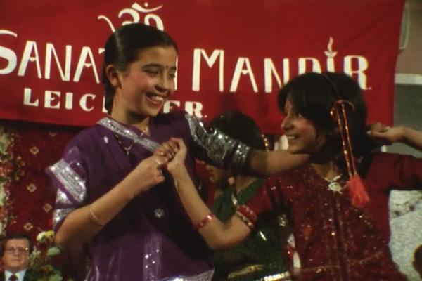 A colour still image of Diwali celebrations from the Central TV magazine programme Contact (1986).