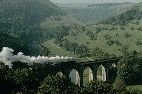 Image of Monsal Dale Railway Bridge, and views of the Peak District.