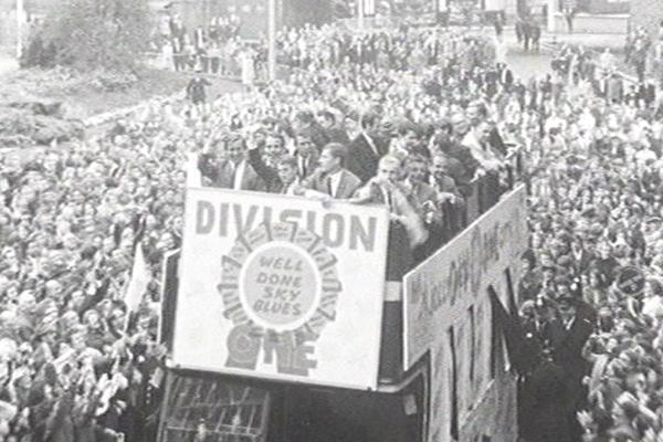 Black and white image of Coventry Football Club parade.
