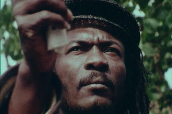 A colour still of image of a Rastafarian taken from the ATV documentary Jah People (1981).