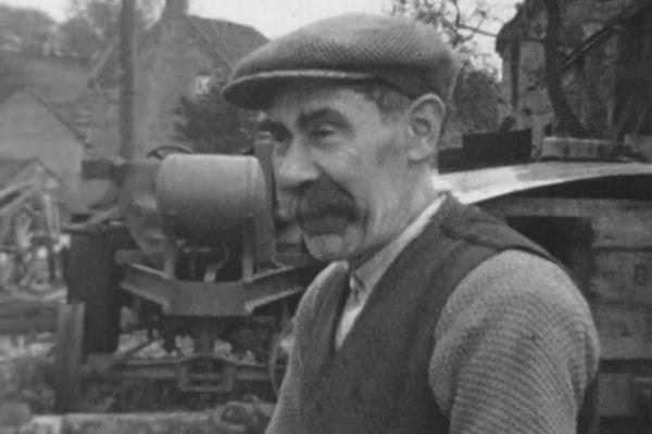 A black and white image of an elder from Kniveton, Derbyshire from the 1930s. Taken from an amateur 8mm film.