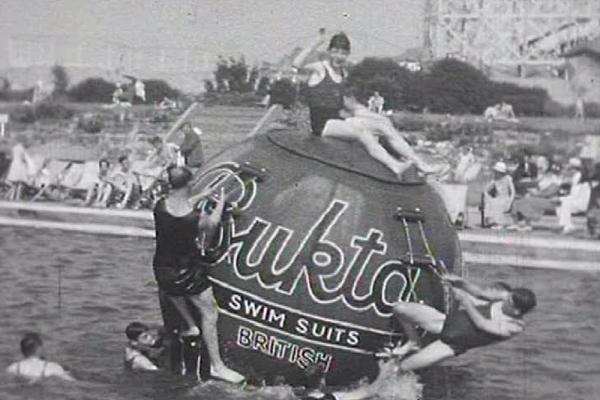 Black and white image of a swimming pool at Butlins.