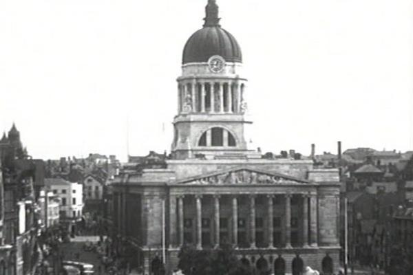 Black and white image of Nottingham Council House.