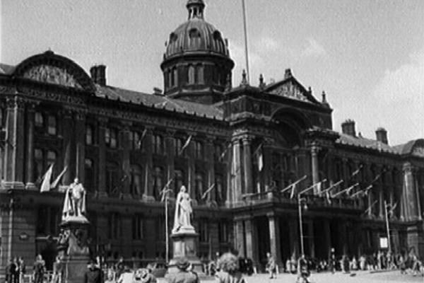 Black and white image of Birmingham City Council House.