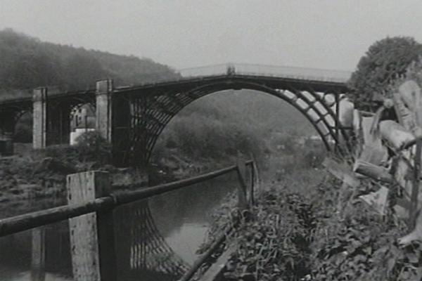 Black and white image of the Iron Bridge in Shropshire.