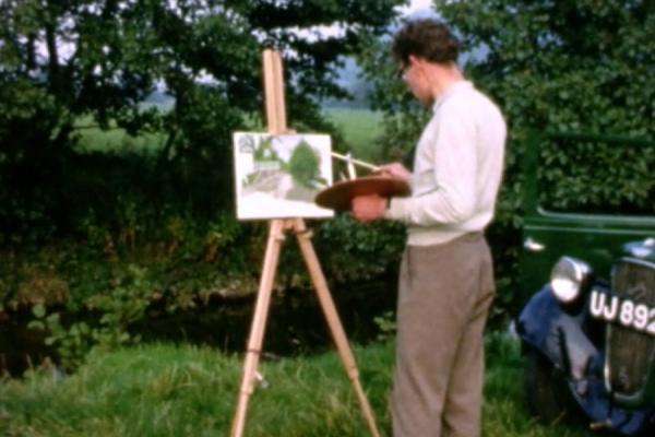 Image of a man painting the Shropshire countryside.