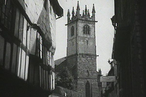 Black and white image of St Laurence's Church in Ludlow.