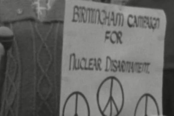 Black and white image of a CND poster.