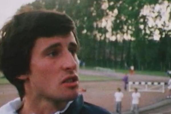Image of a young Sebastian Coe at an athletics track.