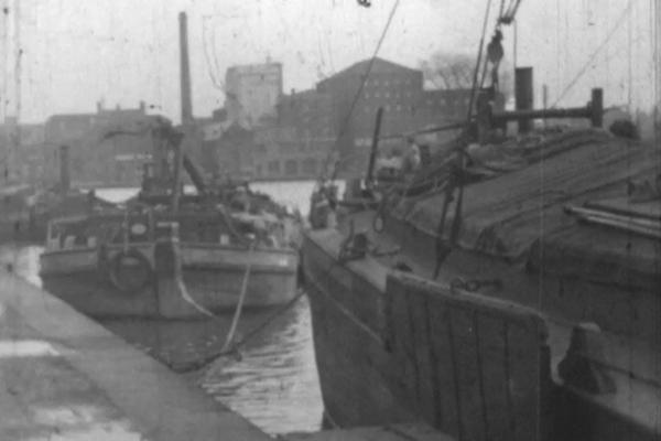 A black and white still image of Brayford Pool at Lincoln in the late 1930s.